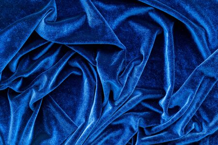 Blue fabric texture background top view mock up