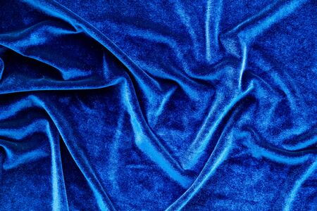 Abstract design. Blue fabric texture background top view mock up Stock Photo