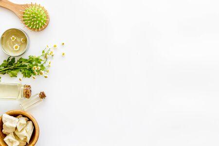 Jojoba naturel, argan, huile de noix de coco pour les cheveux près de la brosse à cheveux sur fond blanc vue de dessus copyspace Banque d'images