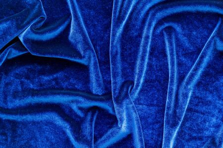 Abstract blue fabric texture pattern top view mockup Stock Photo