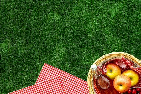 Picnic in summer with products, apples, cherry, drinks on green grass texture background top view space for text