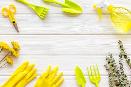 Rake, spade, scissors, spray, flower, gloves. Gardening tools frame on white wooden background top view space for text