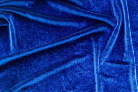 Pattern for blog with blue fabric texture top view copyspace