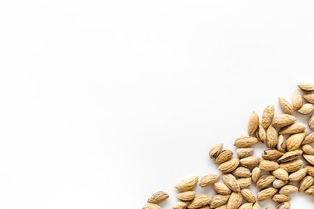 almond for cooking on white background top view mock up 写真素材