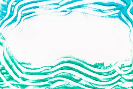 Abstract pattern with green, blue sand texture frame on white background top view mock up Stock Photo