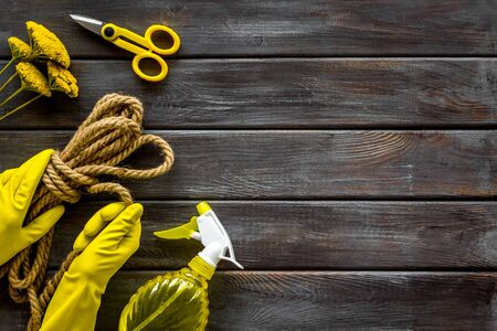 Scissors, spray, rope, hands in gloves. Equipment for growing plants in garden on wooden background top view space for text