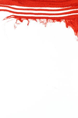 Blog or presentation background with red sand texture on white background top view copyspace