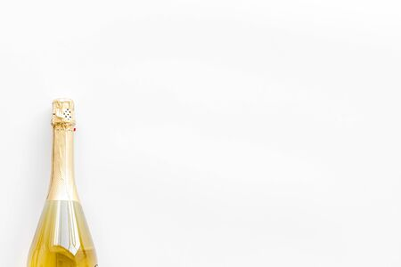 Alcohol for party. Champagne bottle for celebration on white background top view mock up