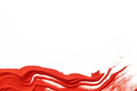 Modern wave for blor with red sand texture on white background top view mockup