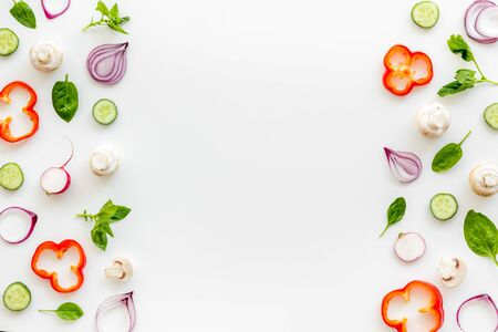 Frame of colorful vegetables on white background top view mock up