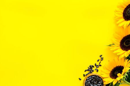 Field flowers design with sunflowers and seeds frame on yellow background top view space for text Stok Fotoğraf
