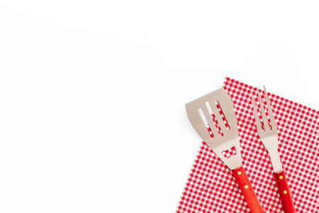 set of used barbecue tools on white background top view mockup