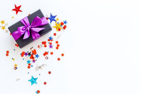 present in box with confetti on white background top view mock-up Stock fotó