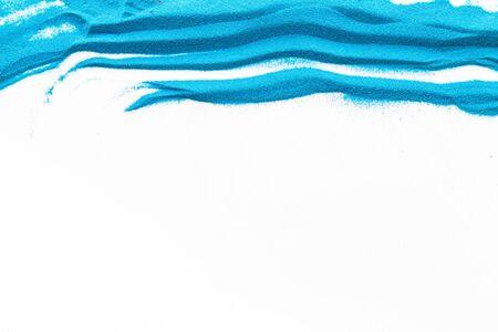 Cornice moderna per blor con texture sabbia blu su sfondo bianco vista dall'alto mockup Archivio Fotografico