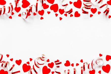 Frame with hearts for present carts design on white background top view space for text Фото со стока