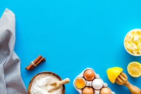 Baking ingredients like flour, eggs, butter top view. Stok Fotoğraf