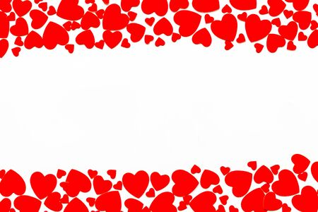 Heart frame for present carts on white background top view mock up