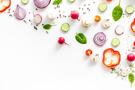 Layout of colorful vegetables on white background top view mock up