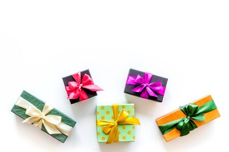 frame from boxes with presents on white background top view mockup