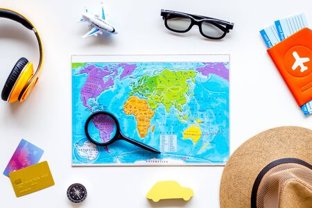 Planning a travel concept. Map of the world on white background top view 版權商用圖片