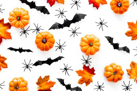 Halloween pattern with pumpkins, spiders and bats on white background top view 写真素材