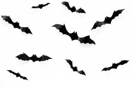 Halloween background with bats on white table top view
