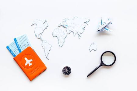 Planning a travel concept. Sketchy map of the world on white background top view Banco de Imagens