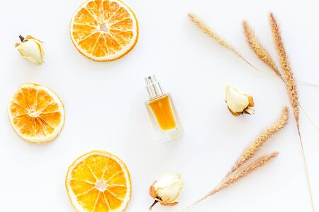 Composition with perfume and dry oranges on white background top view Stockfoto