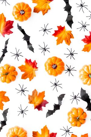Halloween pattern with pumpkins, spiders and bats on white background top view.