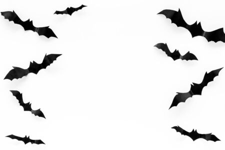 Bats cutout on Halloween frame on white table top view space for text Stock Photo