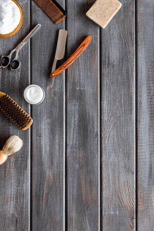 Men's shaving accessories top view Banque d'images