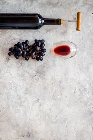 Testing wine concept. Top view grey background copy space