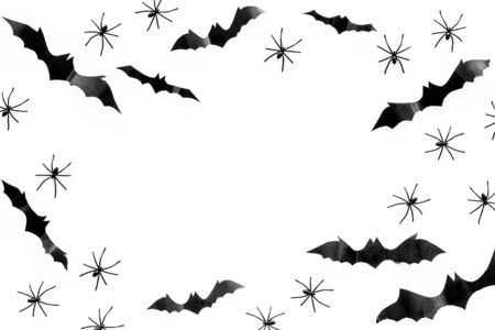 Stylish Halloween design. Bats and spiders on white background top view copy space frame
