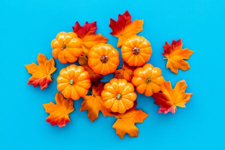Autumn composition with red and orange leaves and pumpkins on blue background top view