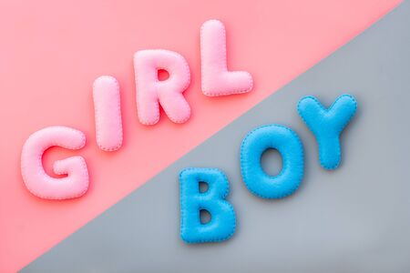 Baby shower concept. Words boy and girl on pink and blue background top view