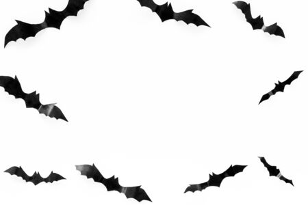 Bats cutout on Halloween frame on white table top view copy space Stock Photo