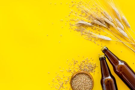 Beer ingredients. Barley near beer bottles on yellow background top view copy space Stock Photo