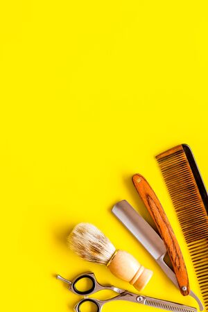 Barbershop concept. Hairdressing tools top view Stock Photo