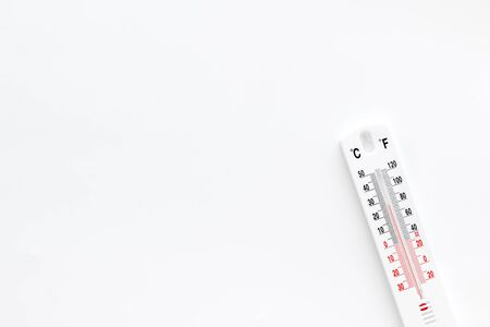 Weather thermometer on white background top view. Stock Photo