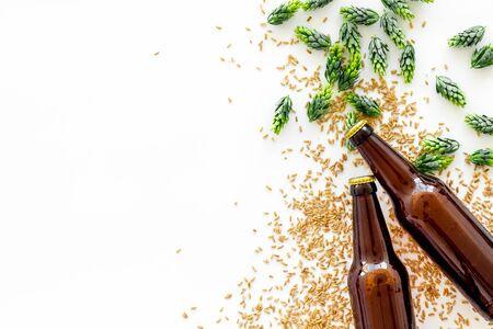 Orge et houblon pour faire de la bière sur fond blanc vue de dessus espace copie Banque d'images
