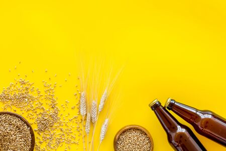 Beer background with barley on yellow background top view copy space