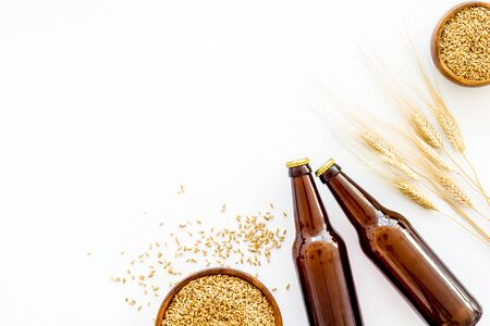 Beer background with barley on white background top view copy space