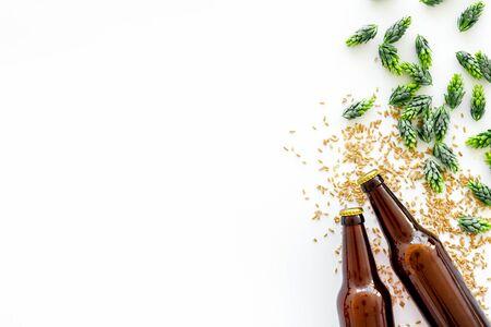 Orge et houblon pour faire de la bière sur fond blanc vue de dessus espace copie