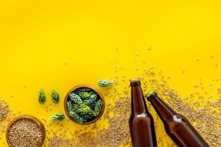 Barley and hop for making beer on yellow background top view.