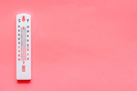 Weather thermometer on pink background top view copy space Stock Photo