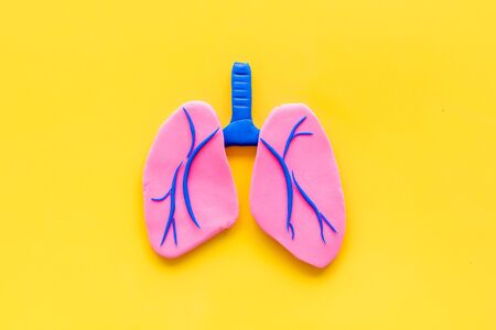 Lung health and diseases. Organ on yellow background top view space for text Stockfoto