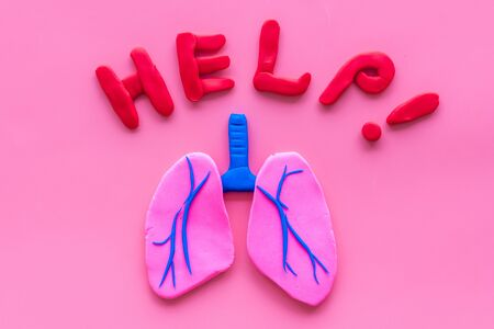 Lung diseases concept. Word help and organ on pink background top view