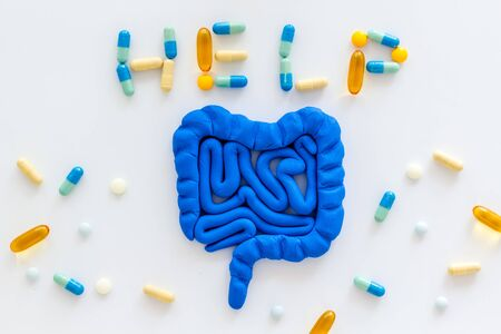 Intestines illness and treatment. Word help near guts and pills on white background top view Stock Photo