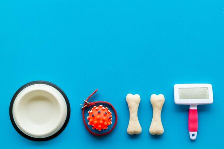 Pets accessories like bones, collar and bowl on blue background top view flat lay copy space