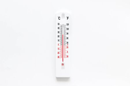 Weather thermometer on white background top view. Stock Photo - 131411303